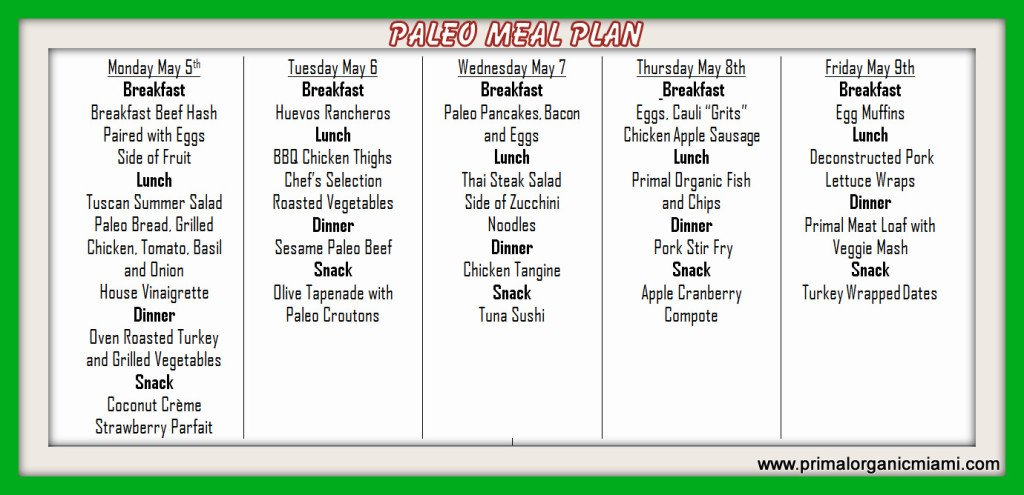 Primal Organic Paleo Meal Plan Miami Delivery