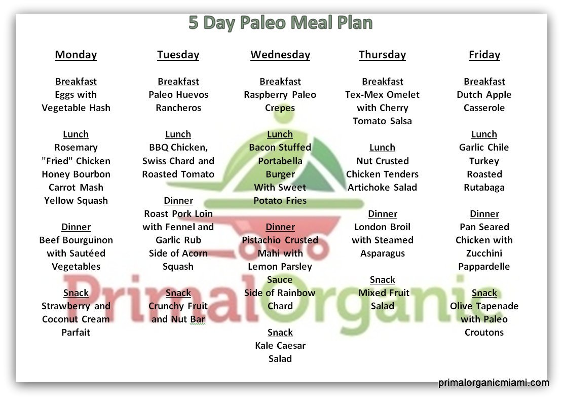 "Paleo meal delivery Paleo Meal Plan Delivery Menu Monday Breakfast Eggs with Vegetable Hash Lunch Rosemary ""Fried"" Chicken Honey Bourbon Carrot Mash Yellow Squash Dinner Beef Bourguinon with Sautéed Vegetables Snack Strawberry and Coconut Cream Parfait Tuesday Breakfast Paleo Huevos Rancheros Lunch BBQ Chicken, Swiss Chard and Roasted Tomato Dinner Roast Pork Loin with Fennel and Garlic Rub Side of Acorn Squash Snack Crunchy Fruit and Nut Bar Wednesday Breakfast Raspberry Paleo Crepes Lunch Bacon Stuffed Portabella Burger With Sweet Potato Fries Dinner Pistachio Crusted Mahi with Lemon Parsley Sauce Side of Rainbow Chard Snack Kale Caesar Salad Thursday Breakfast Tex Mex Omelet with Cherry Tomato Salsa Lunch Nut Crusted Chicken Tenders Artichoke Salad Dinner London Broil with Steamed Asparagus Snack Mixed Fruit Salad Friday Breakfast Dutch Apple Casserole Lunch Garlic Chile Turkey Roasted Rutabaga Dinner Pan Seared Chicken with Zucchini Pappardelle Snack Olive Tapenade with Paleo Croutons"
