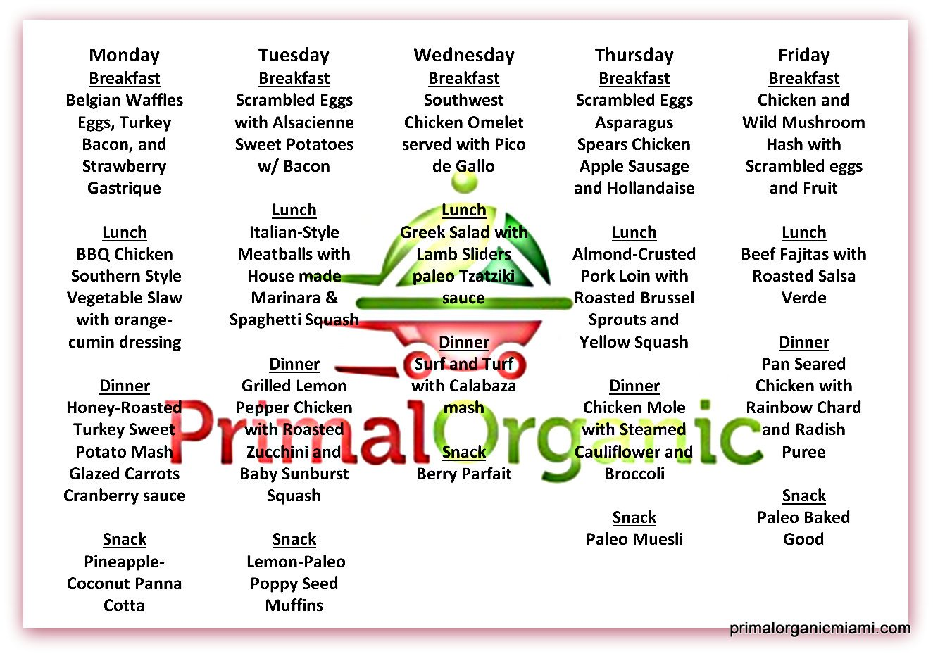 Order paleo diet delivery from Primal Organic