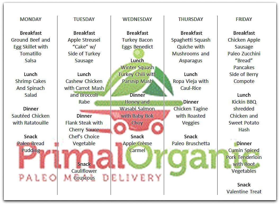 Menu Starting 2 Primal Organic